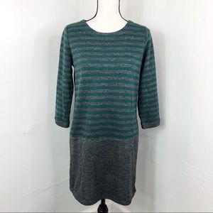 LOFT Green Grey Striped 3/4 Sleeve Sweater Dress